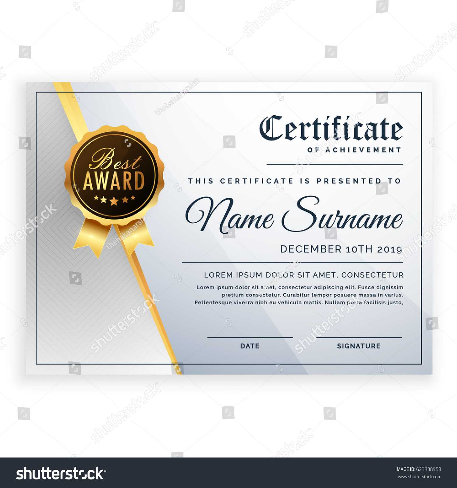 Vector Certificate Template Beautiful Certificate Template Throughout Beautiful Certificate Templates