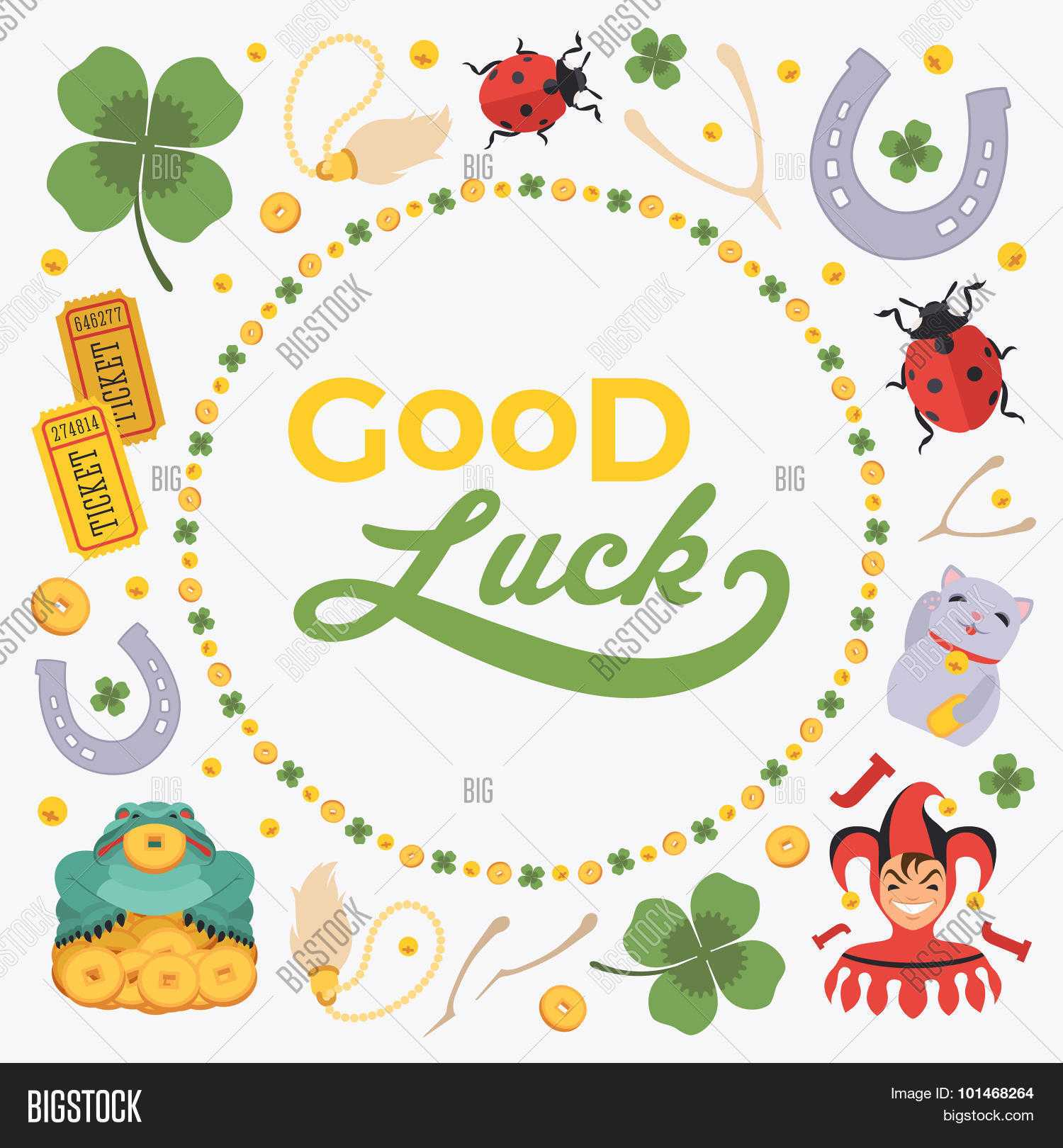 Vector Decorating Vector & Photo (Free Trial) | Bigstock Pertaining To Good Luck Card Template