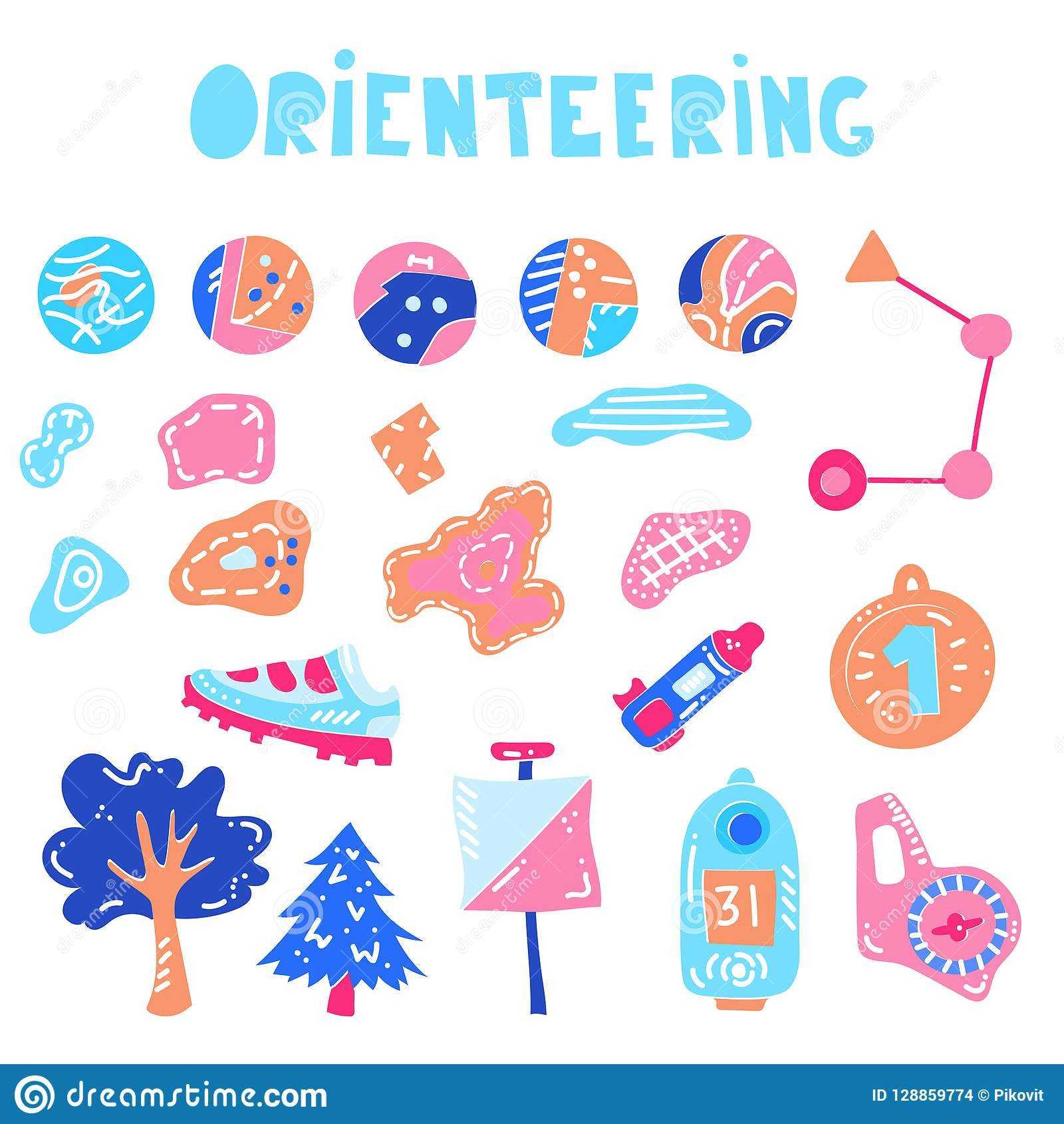 Vector Illustration Of Orienteering Map Signs Stock Vector In Orienteering Control Card Template