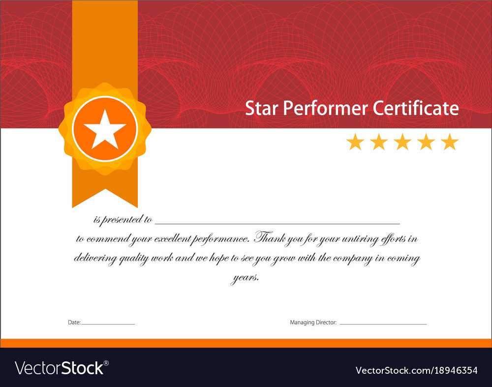 Vintage Red And Gold Star Performer Certificate In Star Performer Certificate Templates