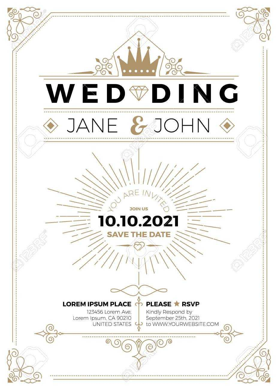 Vintage Wedding Invitation Card A5 Size Frame Layout Print Template With Wedding Card Size Template