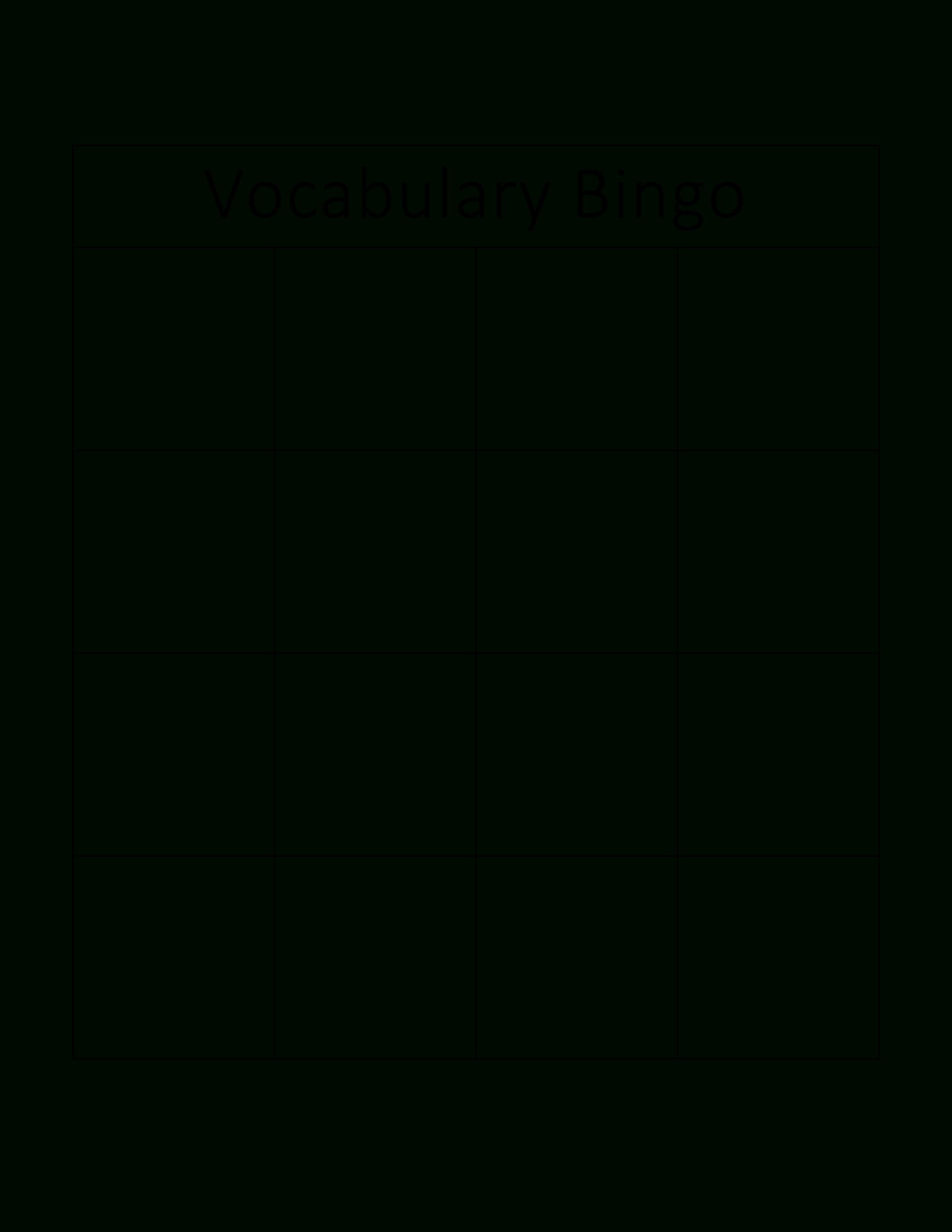 Vocabulary Bingo Card   Templates At Allbusinesstemplates Intended For Blank Bingo Card Template Microsoft Word