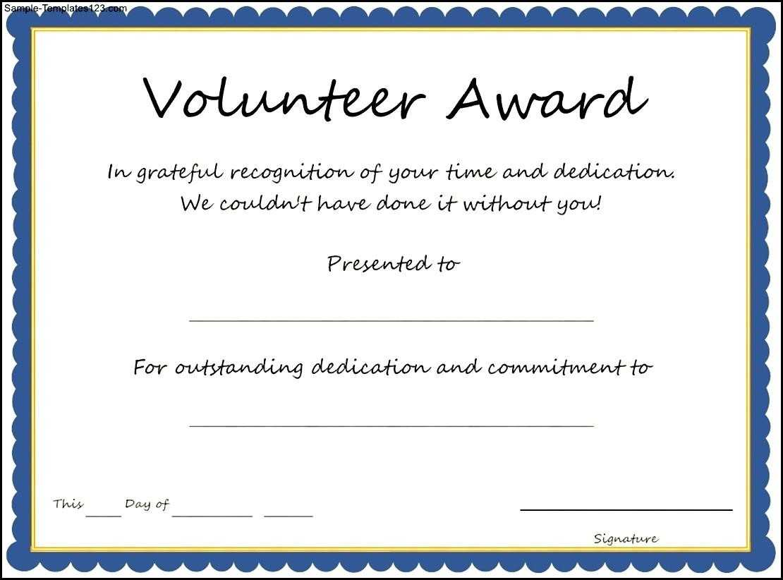 Volunteer Award Certificate Template - Sample Templates In Volunteer Of The Year Certificate Template