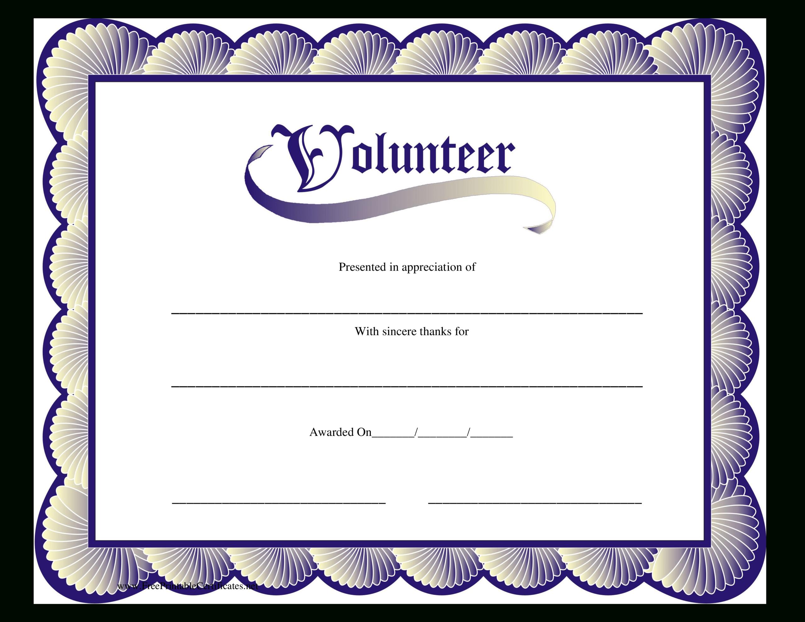 Volunteer Certificate | Templates At Allbusinesstemplates Intended For Volunteer Certificate Templates