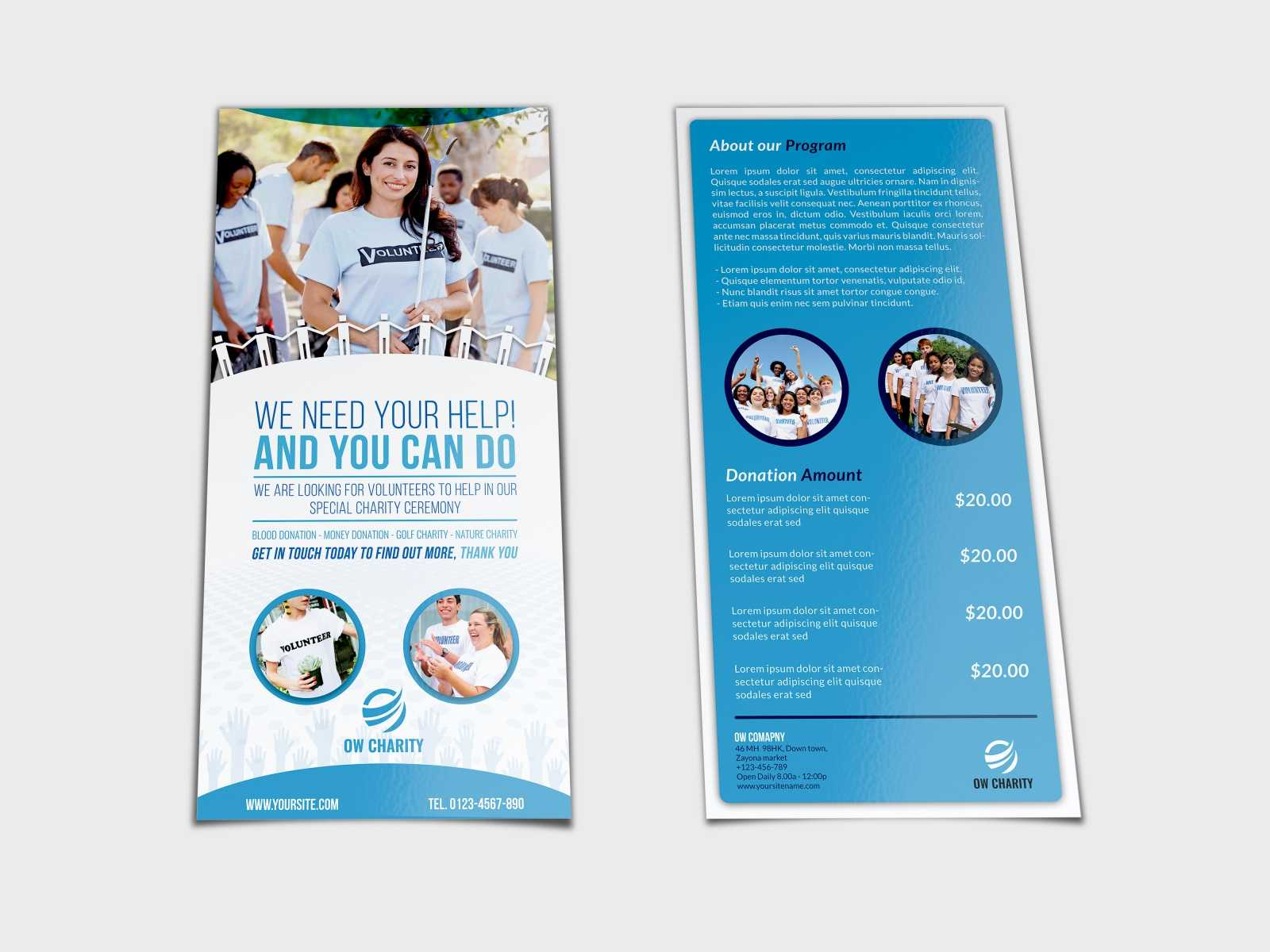 Volunteer Flyer Template Dl Sizeowpictures On Dribbble In Volunteer Brochure Template