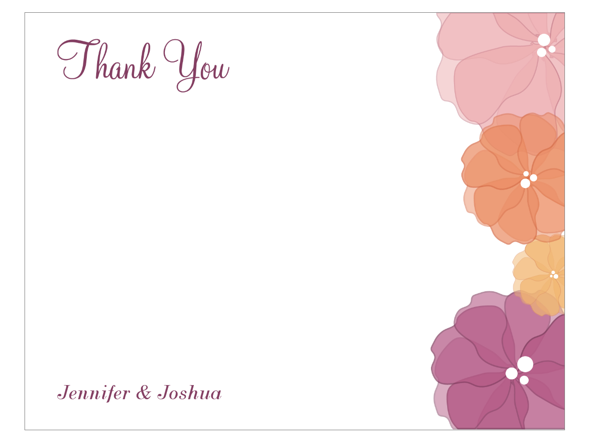 Watercolor Flower Thank You Card Regarding Thank You Note Cards Template