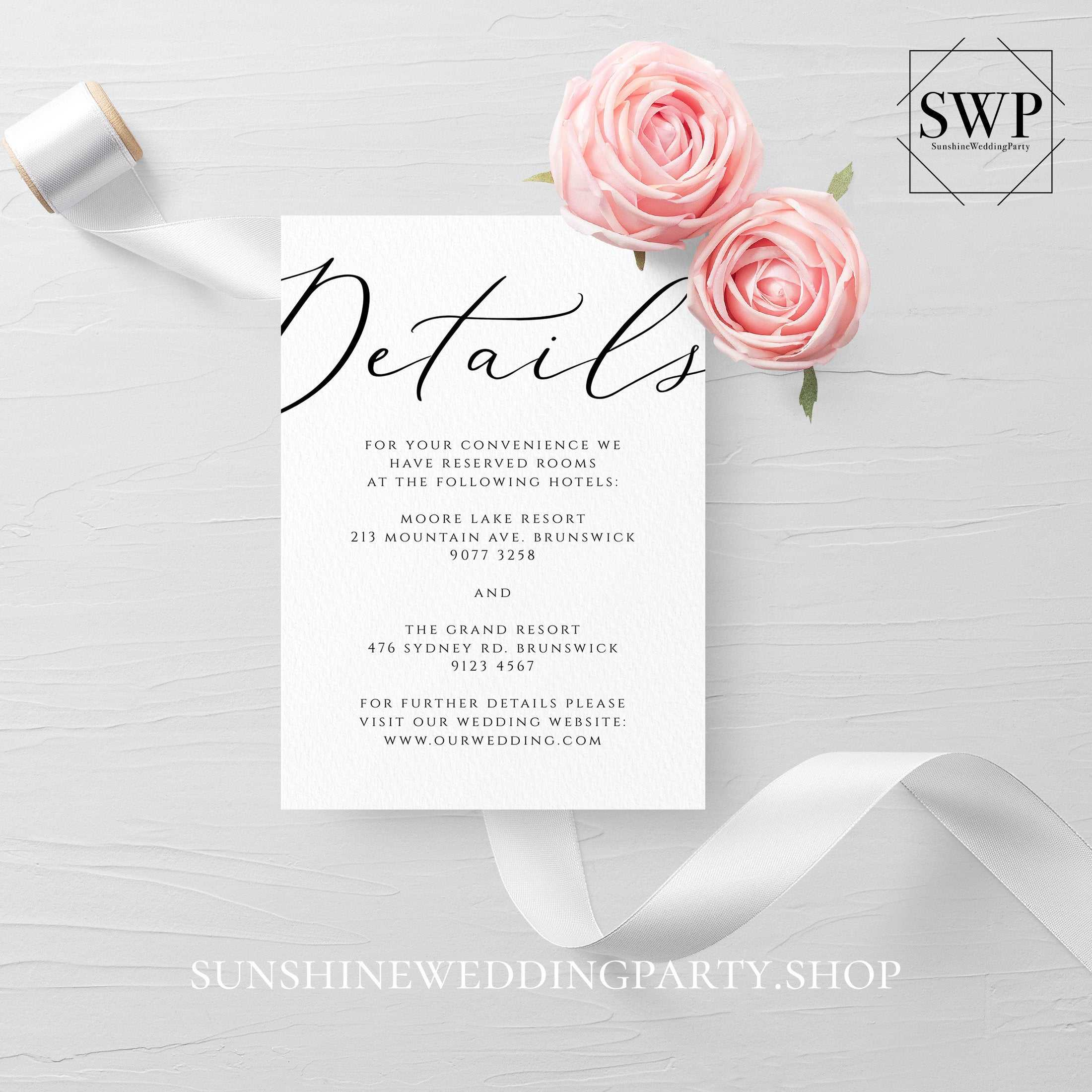 Wedding Details Card Template Fully Editable Printable Inside Wedding Hotel Information Card Template