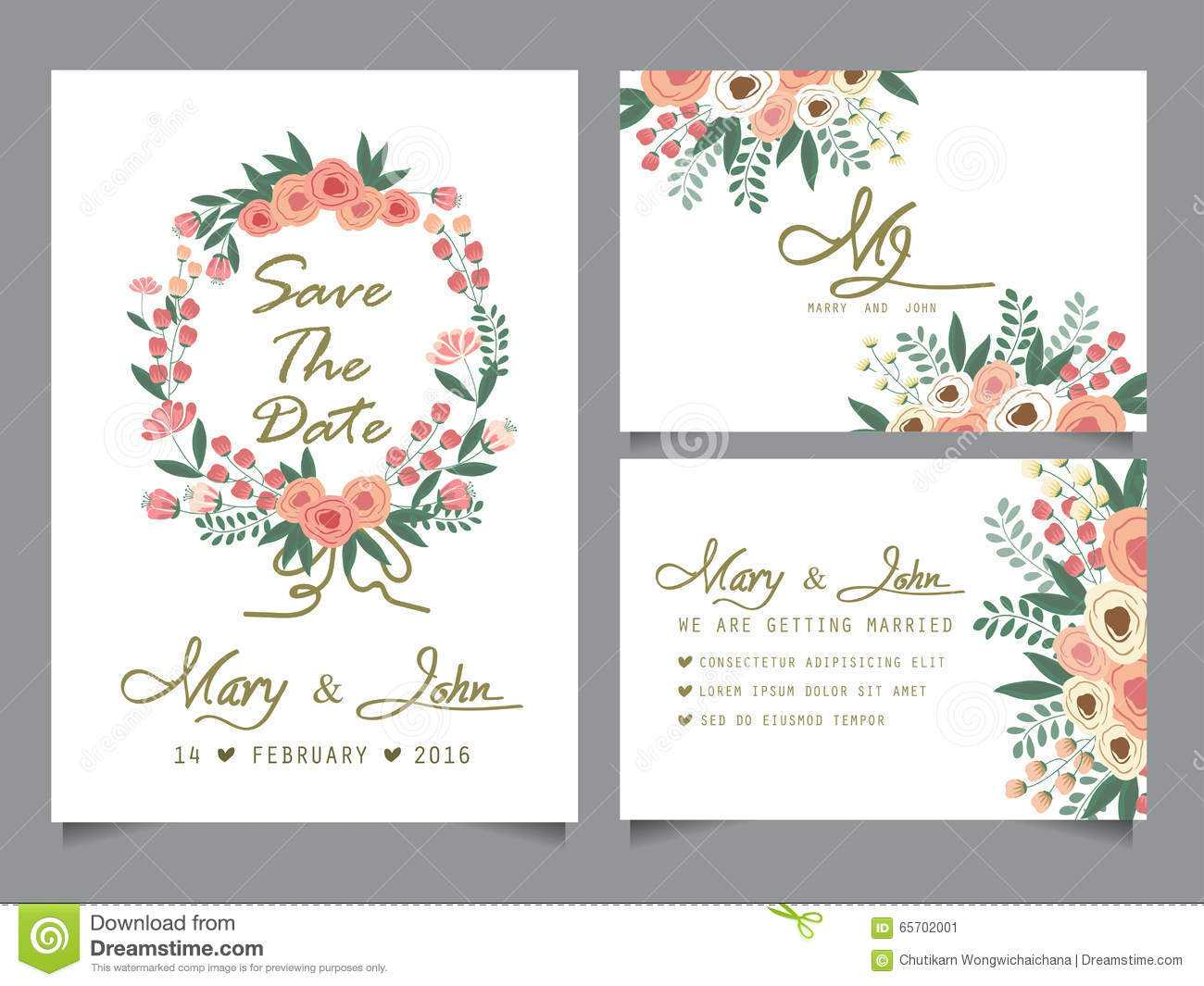 Wedding Invitation Card Template Stock Vector – Illustration Pertaining To Anniversary Card Template Word