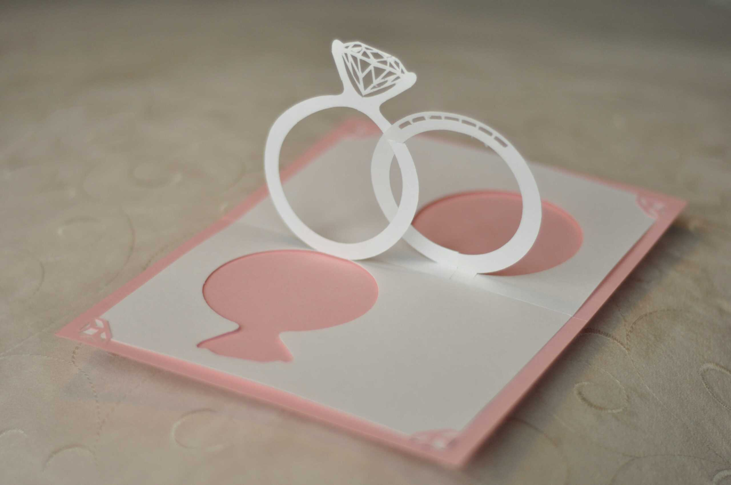 Wedding Invitation Pop Up Card: Linked Rings - Creative Pop Within Wedding Pop Up Card Template Free