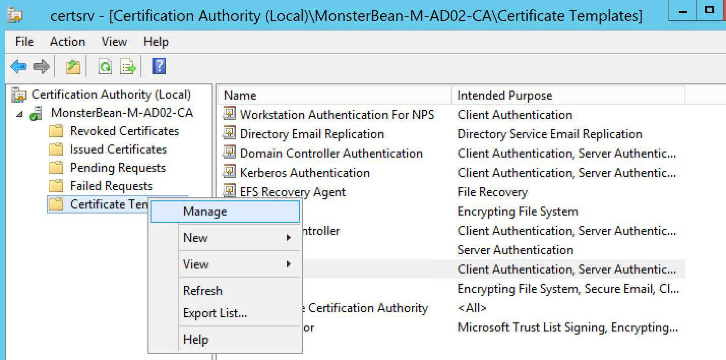 Windows 2012 R2 Nps With Eap Tls Authentication For Os X Inside Workstation Authentication Certificate Template