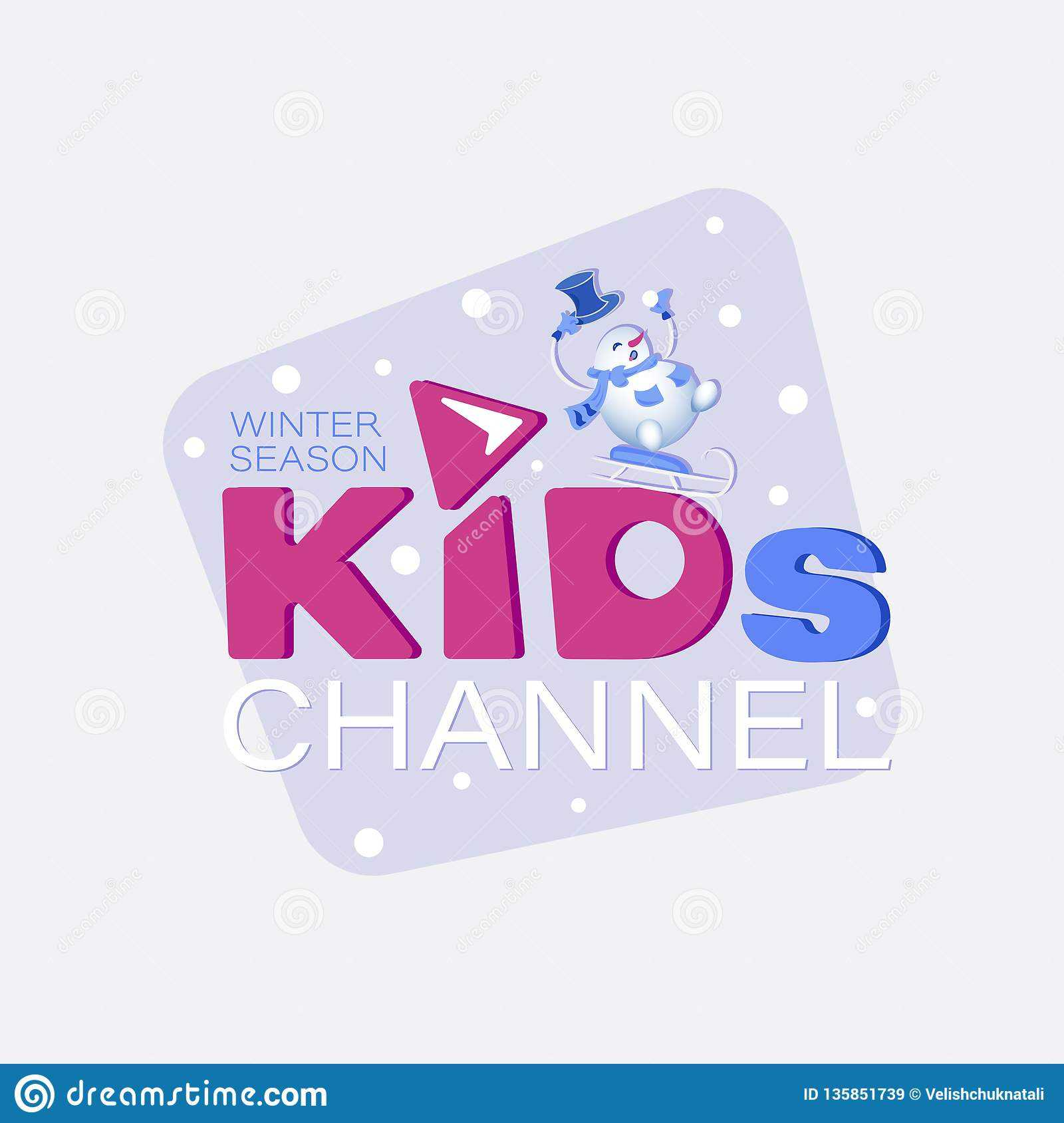Winter Season. Channel Logo Design Template For Kids. Stock Throughout Credit Card Template For Kids