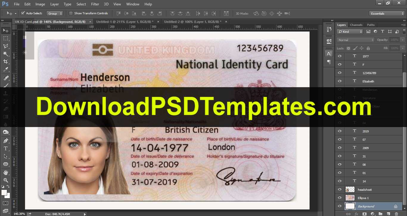 Wonderful Id Card Design Psd Format Template Ideas Student With Florida Id Card Template