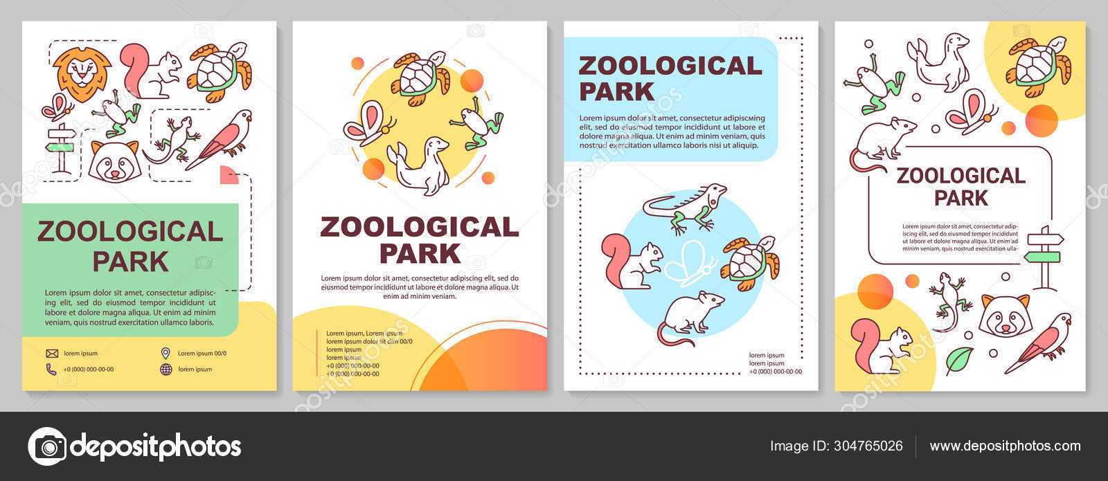 Zoological Park Brochure Template Layout. Zoo Animals. Flyer Within Zoo Brochure Template